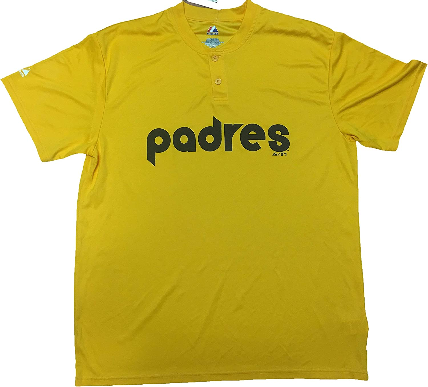 Majestic San Diego Padres Cooperstown Collection Two Button Dri Fit Jersey T-Shirt