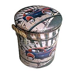 Mobili Rebecca® Repose-Pieds Coffre de Rangement Métal PVC Vert Beige Deco Industriel Garage Sajour (Cod. RE4855)