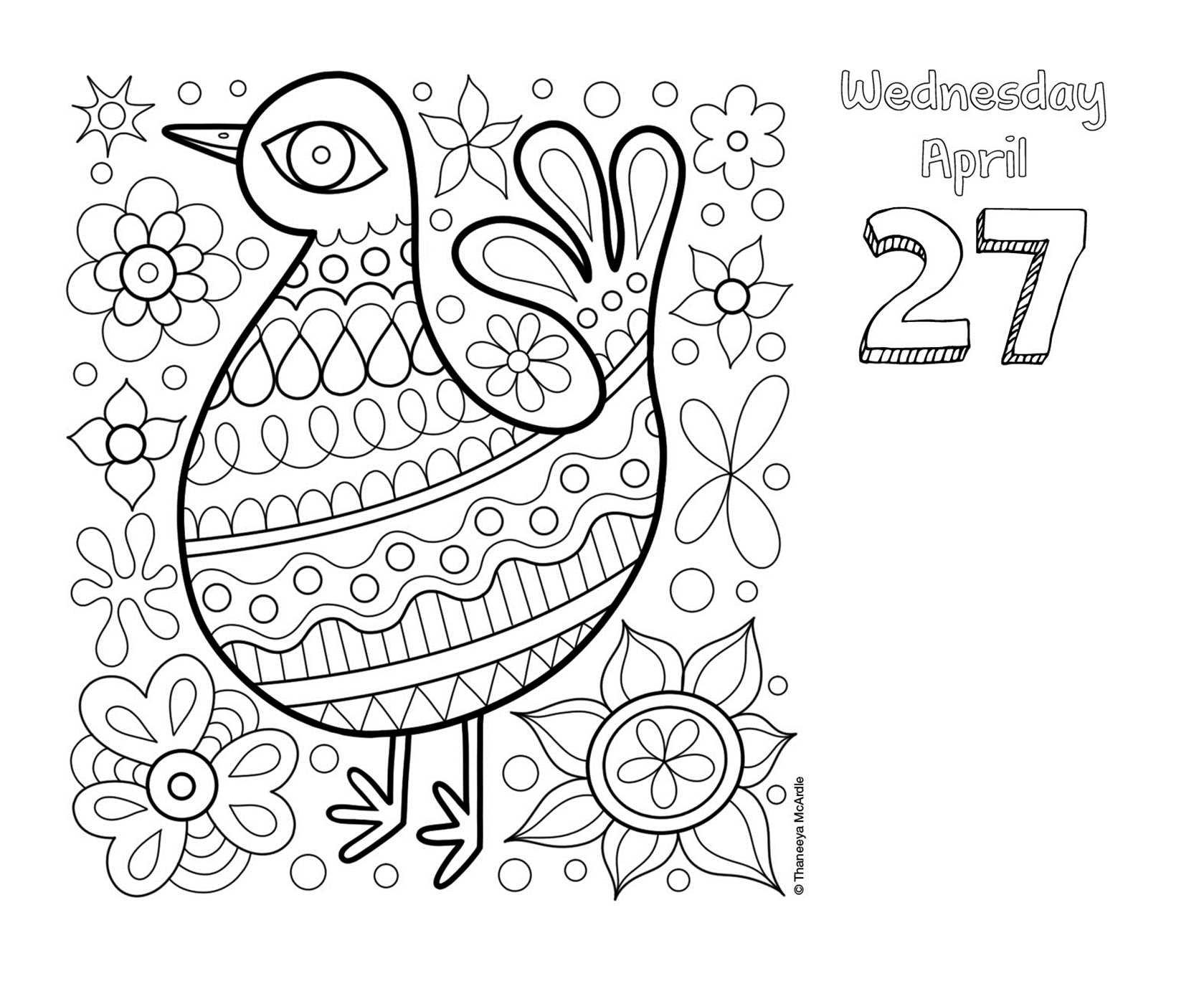 Posh Coloring 2016 Day to Day Calendar For Fun & Relaxation