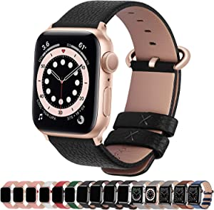 Fullmosa Compatible Apple Watch Band 38mm 40mm 42mm 44mm Leather Compatible iWatch Band/Strap Compatible Apple Watch SE & Series 6 5 4 3 2 1, 38mm 40mm Black with Rose Gold Buckle