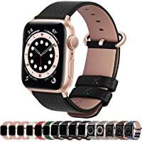 Fullmosa Compatible with Apple Watch Band 38mm 40mm 42mm 44mm, Lichi Calf Leather Apple Watch Band/Strap with Stainless…