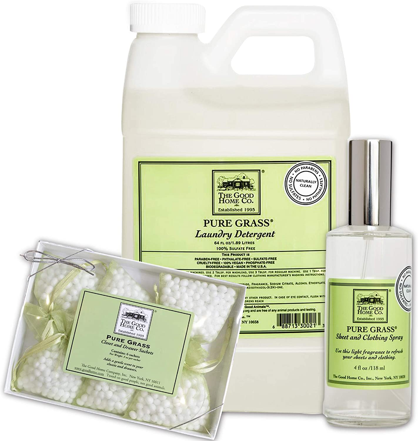 The Good Home Detergent 64 Oz, Sheet and Clothing Linen Spray 4 Oz, Closet and Drawers Sachets 0.5 Oz Pure Grass, Improves Sleep, Refreshes Clothes and Linen All-Natural Freshener