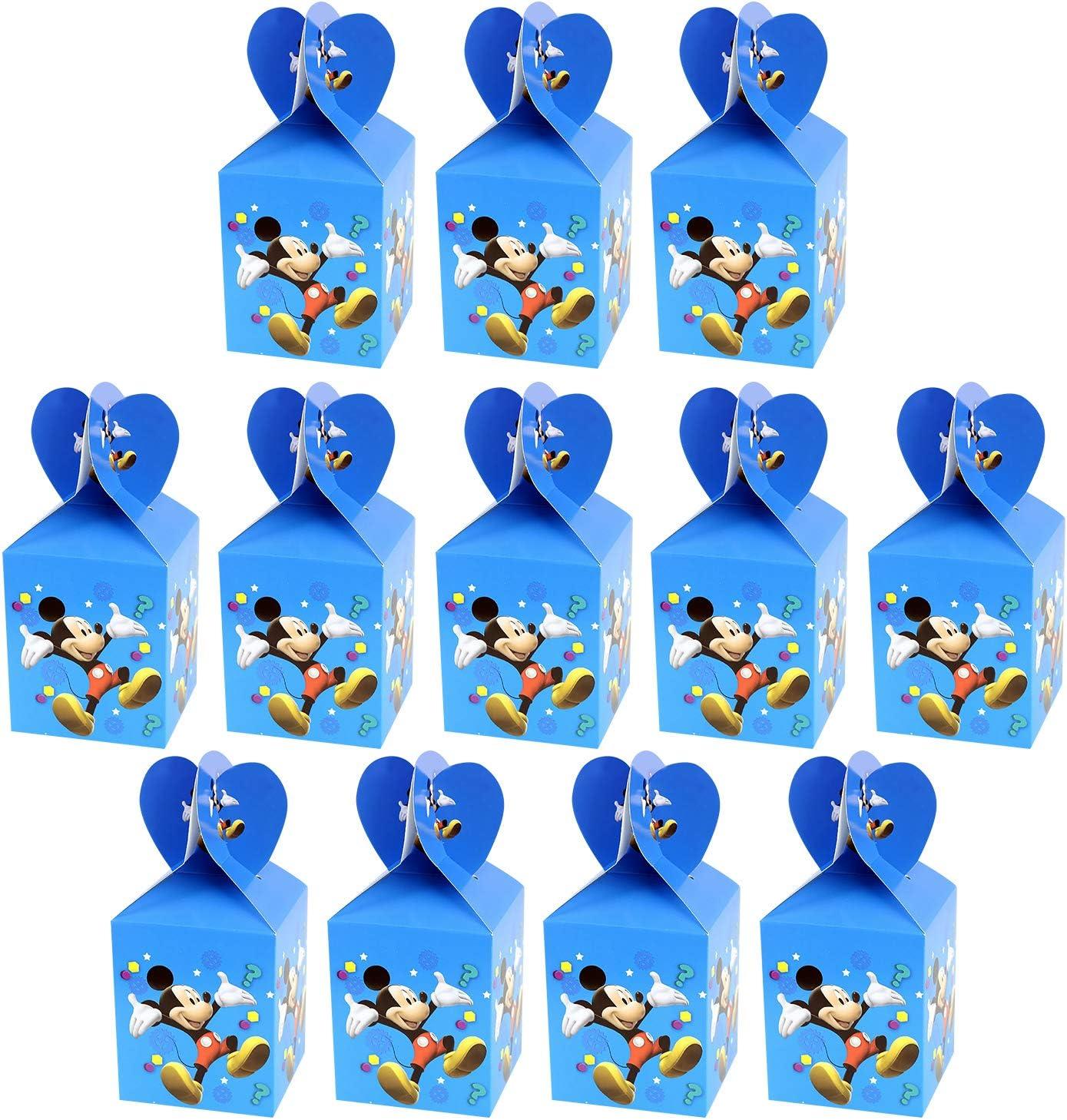 Qemsele Cajas De Fiesta Bolsas de cumpleaños, 12Pcs Regalo Cajas, Cajas de Caramelo Tema Reutilizable Bolsas de Fiesta Bolsas para cumpleaños niños la Fiesta favorece la Bolsa Bolsas Fiesta (Mickey)