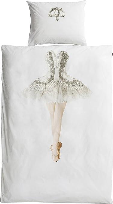 Snurk - Juego de funda de edredón y almohada, diseño de bailarina, algodón, blanco, 135 x 200 cm + 80 x 80 cm: Amazon.es: Hogar