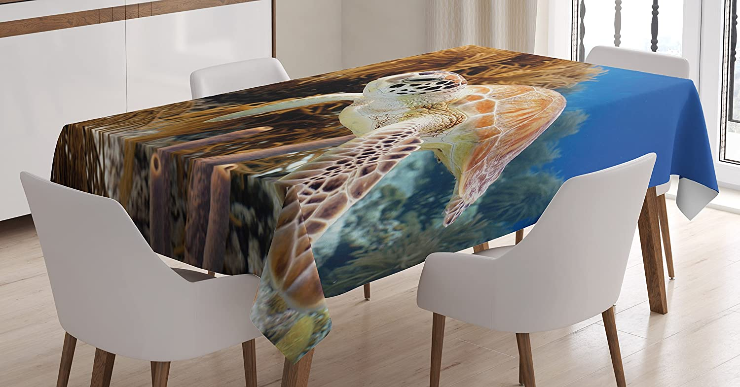 """Ambesonne Turtle Tablecloth, Coral Reef and Sea Turtle Close up Photo Bonaire Island Waters Maritime, Rectangular Table Cover for Dining Room Kitchen Decor, 52"""" X 70"""", Coffee Brown"""