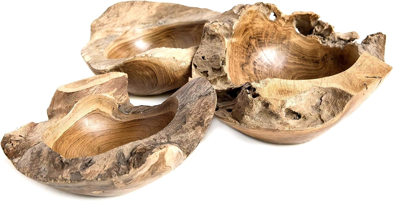 Windalf Vintage Decorative Wooden Bowl Dalin Diameter 18 cm Soap Jewellery Coins Pralines Hobbit Teak Wood Bowl Handmade from Burl Wood