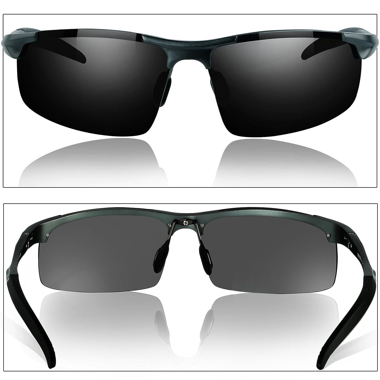 94344e5e32 Duco Men Polarized Sunglasses Sports Glasses Metal Frame Driving Glasses  8177S - Grey -  Amazon.co.uk  Clothing