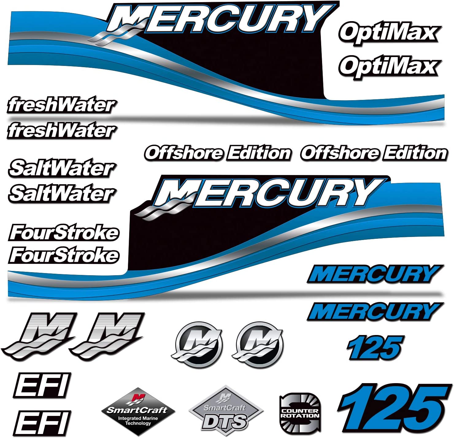 AMR Racing Outboard Engine Motor Sticker Decal Graphics kit for Mercury 125 Blue