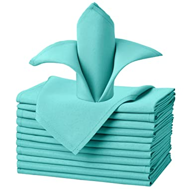 VEEYOO Cloth Napkins Set of 12 Pieces Solid Polyester Napkins Soft Fabric Washable and Reusable Dinner Napkin for Banquet Wedding Restaurant (Turquoise, 17x17 inch)