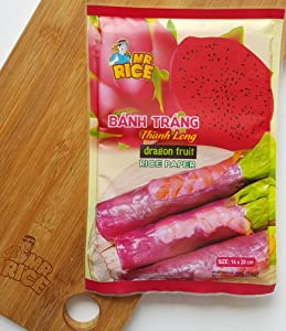 Premium Quality Rice Paper Wrappers - Dragon Fruit Rice Paper - Vietnamese Rice Paper Wrappers - Rice Paper For Spring Rolls - Rice Paper Wrappers - Pack 2