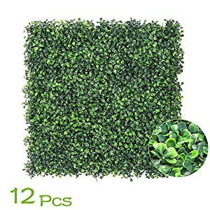 """uyoyous Artificial Boxwood Hedge Plant Greenery Screen Panels for Outdoor Indoor Garden Home Deco 12PCS 24""""x16""""(LxWxH)"""