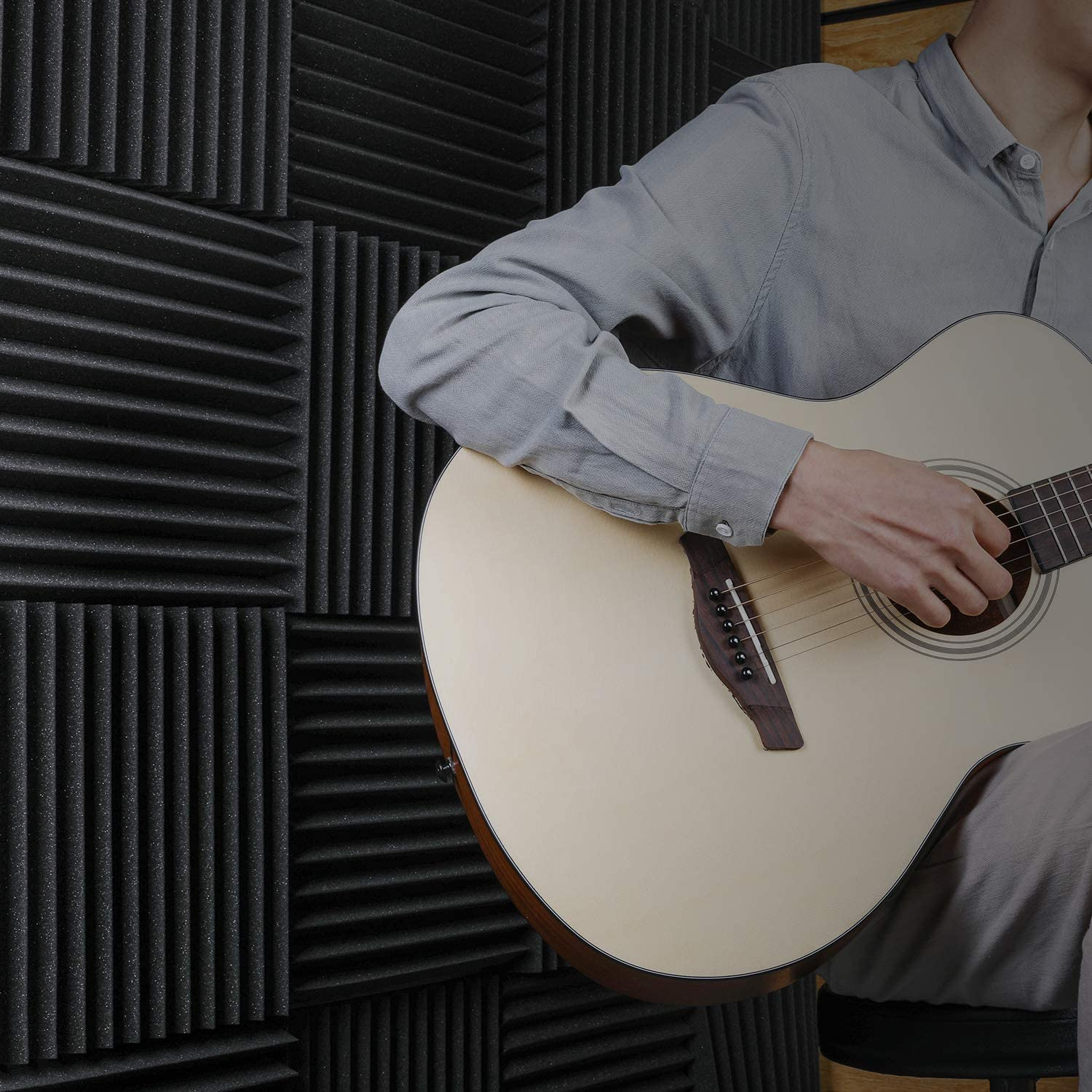 Recording Studios Offices Donner 12-Pack Acoustic Foam Panels Wedges Fireproof Soundproofing Foam Noise Cancelling Foam for Studios Home Studios 1/'/' x 12/'/' x 12/'/'