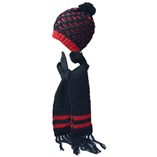 Kate Marie  Polly  Handcrafted Pineapple Pattern Knit Beanie Hat with Scarf  Two Piece Set 650333a31e1