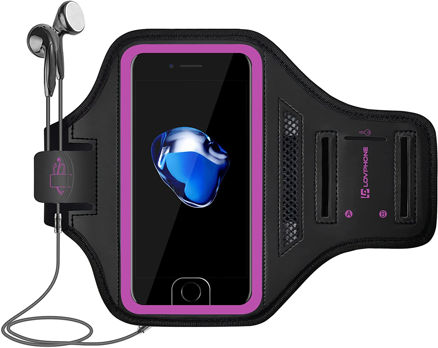 iPhone 7/8 Plus Armband - LOVPHONE Sport Running Exercise Gym Sportband Case for Apple iPhone 8 Plus/iPhone 7 Plus/iPhone 6 Plus/6s Plus, with Key Holder & Card Slot, Water Resistant (Rosy)