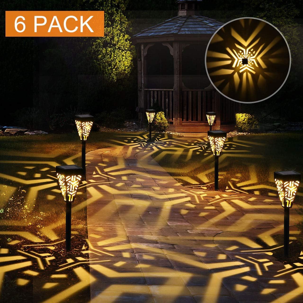 Lámparas Solares para Jardín Golwof 6 Piezas Luz Solar Exterior Jardin Luces Solares Jardin Exterior Farolillos Solares Exterior Iluminación de Caminos Decorativas para Camino Patio Césped