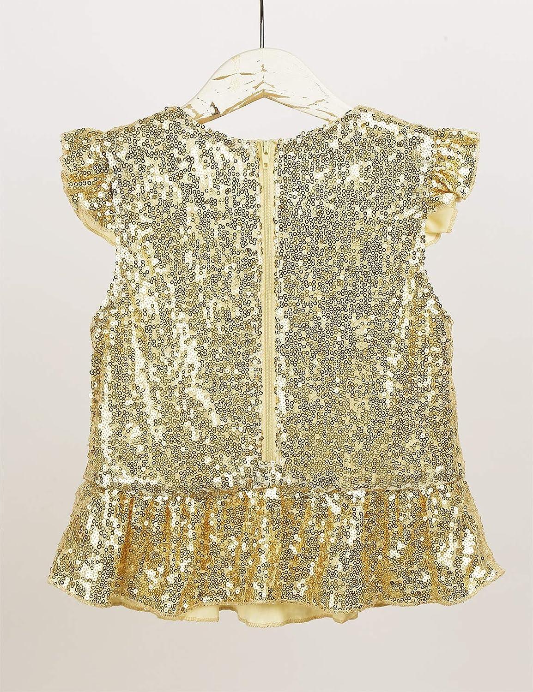 Yeahdor Kids Girls Sparkly Sequins Mermaid Jazz Hip Hop Dance Costume Zipper Ruffle Trim Top Birthday Party Blouse Shirts