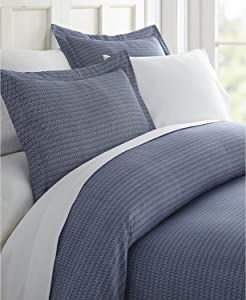 Home Collection iEnjoy Home Hotel Collection Premium Ultra Soft Blue Diamond Pattern 3 Piece Duvet Cover Bed Sheet Set, King/California King, Navy