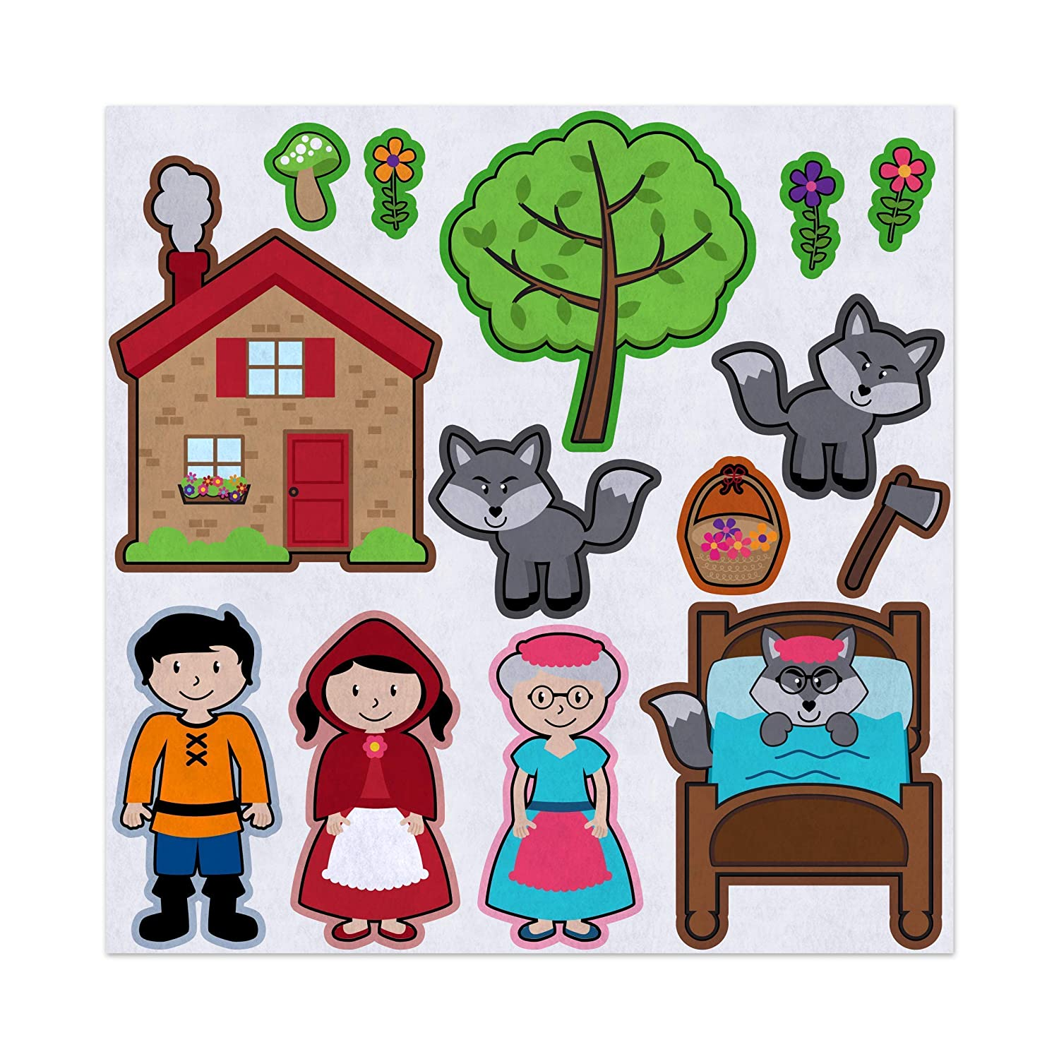 Red Riding Hood Story Adventure Felt Play Art Set Flannel Board Story Storyboard Pieces