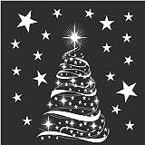 Star Tree with Stars Window Cling Stickers - Seasonal Christmas Window Decorations.