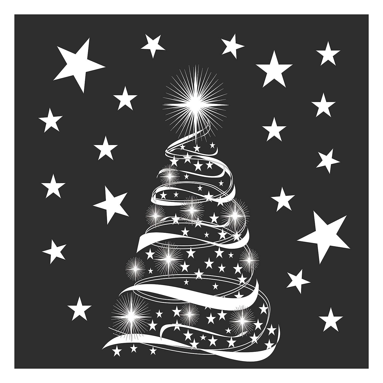 Star Tree With Stars Window Cling Stickers Seasonal Christmas Window Decorations