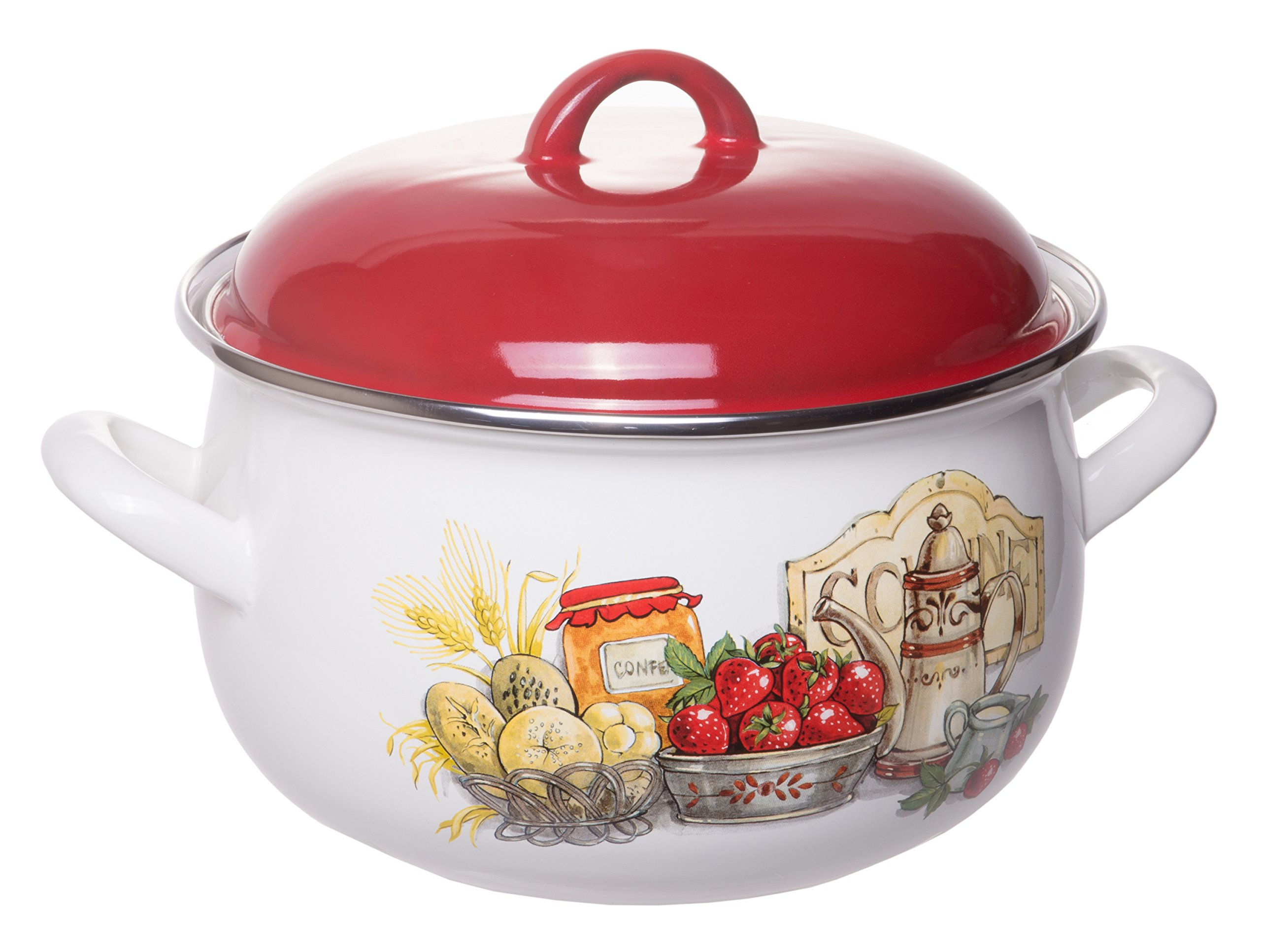 Enamel On Steel Round Covered Stockpot, Pasta Stock Stew Soup Casserole Dish with Red Lid, Up to 4 Quarts - 20 cm