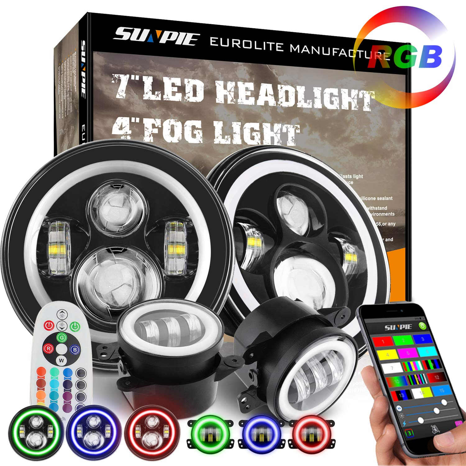 7' LED Headlights with RGB Halo + 4' LED Fog Lights for Jeep Wrangler 1997-2017 JK TJ LJ Front Bumper Lamp Driving Lights by Phone APP Remote Control SUNPIE