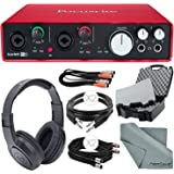 Focusrite Scarlett 6i6 (2nd Generation) Audio Interface and Accessory Bundle with Protective Case + Cables + Headphones