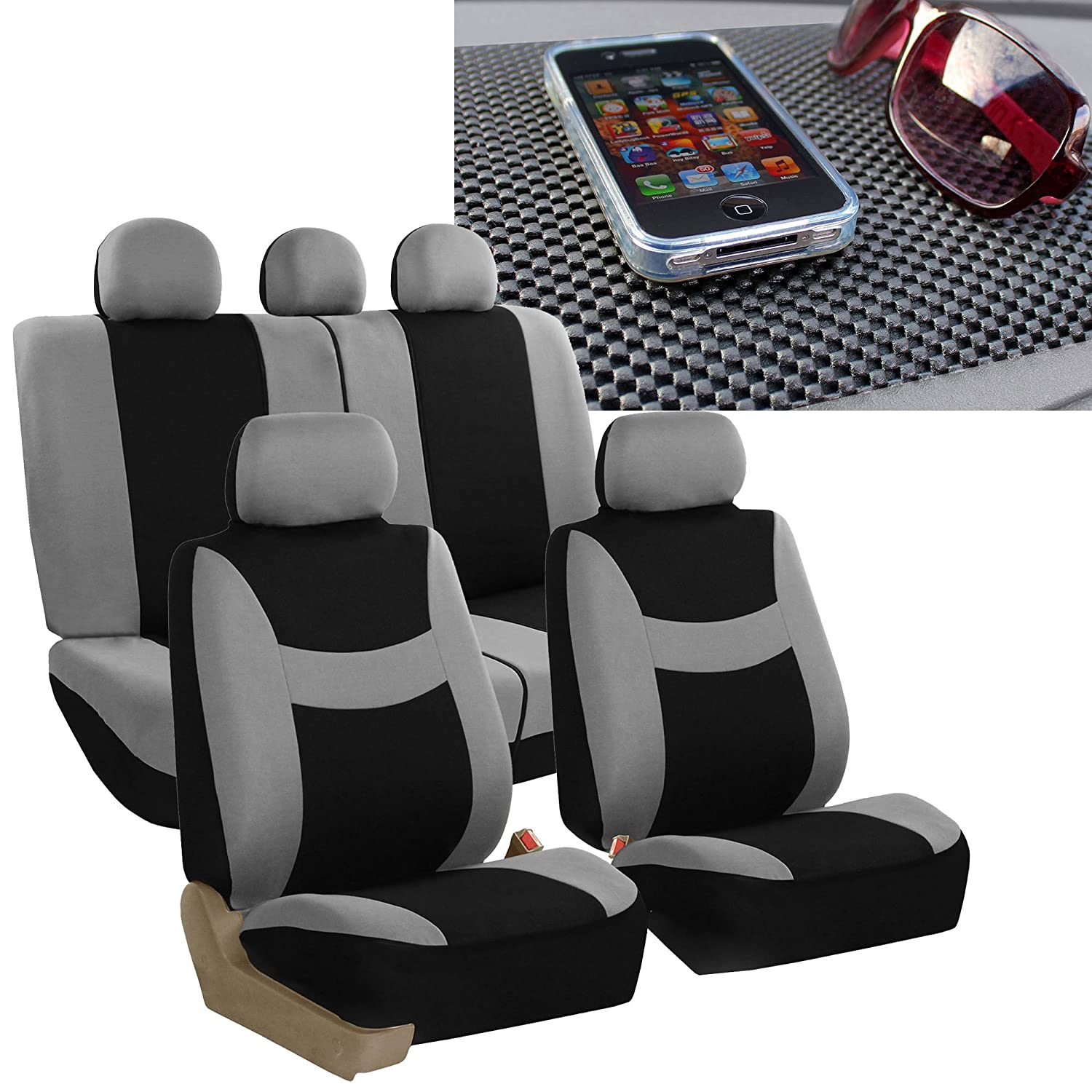 FH GROUP FH-FB030115 Light & Breezy Cloth Seat Cover Set Airbag & Split Ready, Gray / Black with FH GROUP FH1002 Non-slip Dash Grip Pad- Fit Most Car, Truck, Suv, or Van
