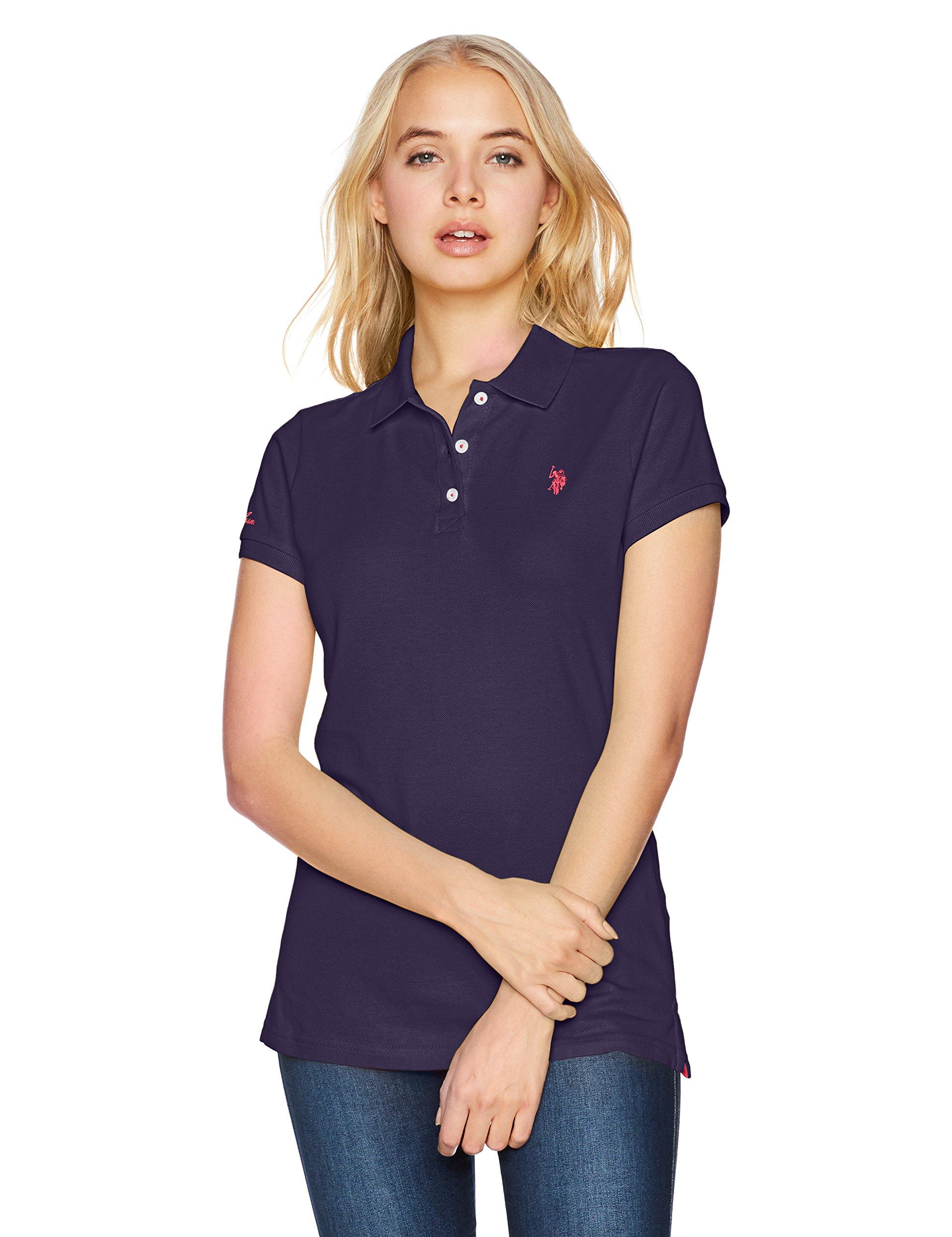 US Polo Assn Women's Solid Pique Polo Shirt, Pappagallo Teal, S
