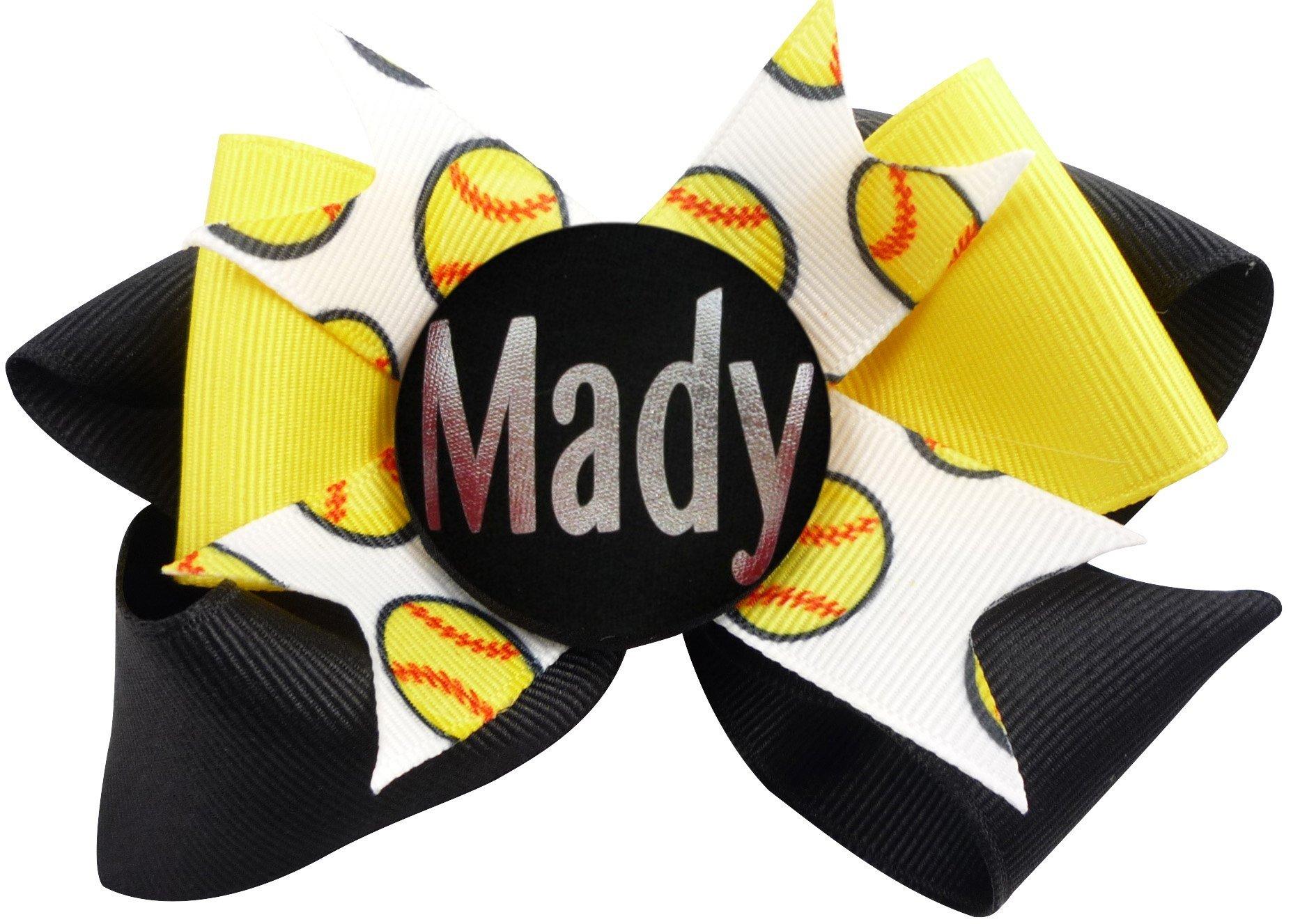 Softball Glitter Hair Name Bow - yellow black or choose ribbons