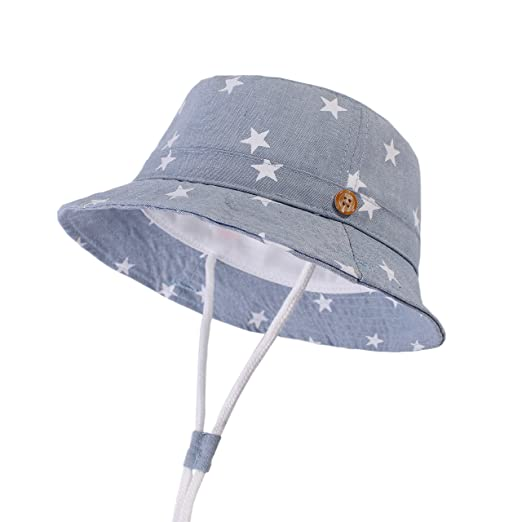 546500c6d LANGZHEN Sun Protection Hat for Kids Toddler Boys Girls Wide Brim Summer  Play Hat Cotton Baby Bucket Hat with Chin Strap