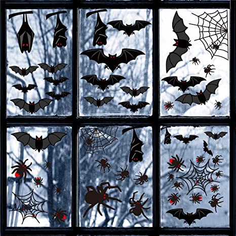 Spiders Ghosts Bats Decals Haunted House Party Ornaments 224 PCS Halloween Window Sticker Decorations Halloween Spider Webs Window Clings Decorations