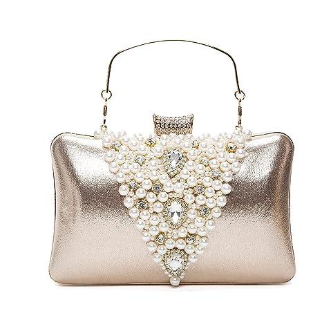 7c071703c5 BAIGIO Pochette Donna Elegante Oro da Cerimonia, Clutch Donna Borsetta da  Sera Borsa a Tracolla