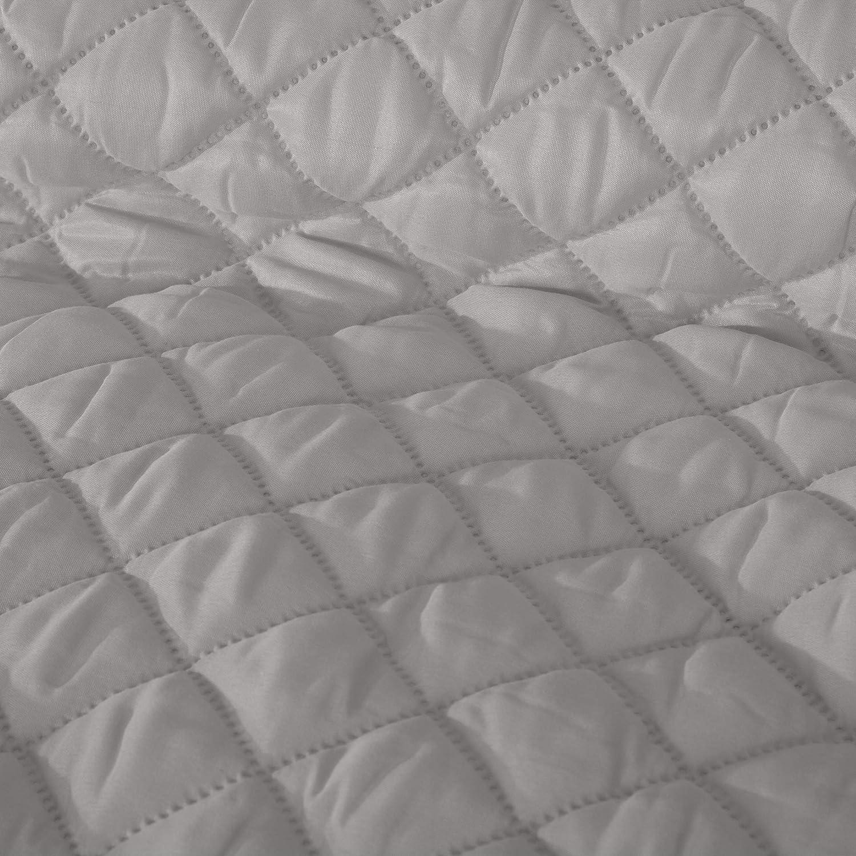 Design91 Tagesdecke Alara Gesteppter Bett/überwurf Einfarbig Steppung 3D Geometrisches Muster Ganzj/ährig Creme 3, 70 x 160 cm
