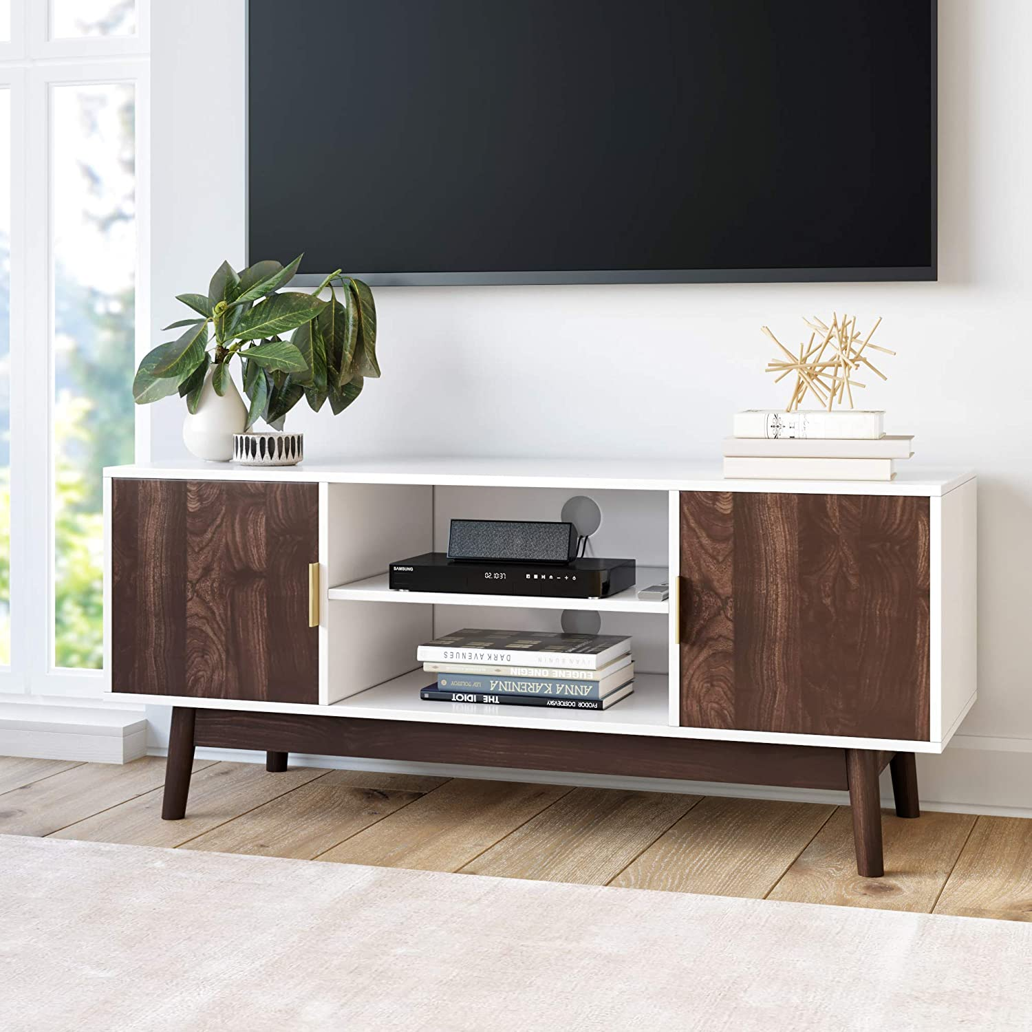 Nathan James 74402 Wesley Scandinavian TV Stand Media Console with Wooden Frame and Cabinet Doors, White/Walnut