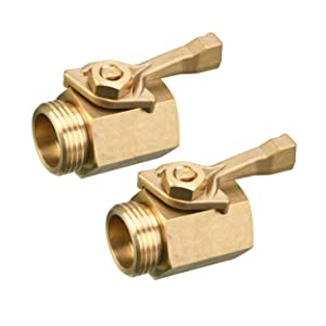 M MINGLE Heavy Duty Brass Garden Hose Shut Off Valve, 3/4 Inch, 2-Pack with 2 Hose Washers