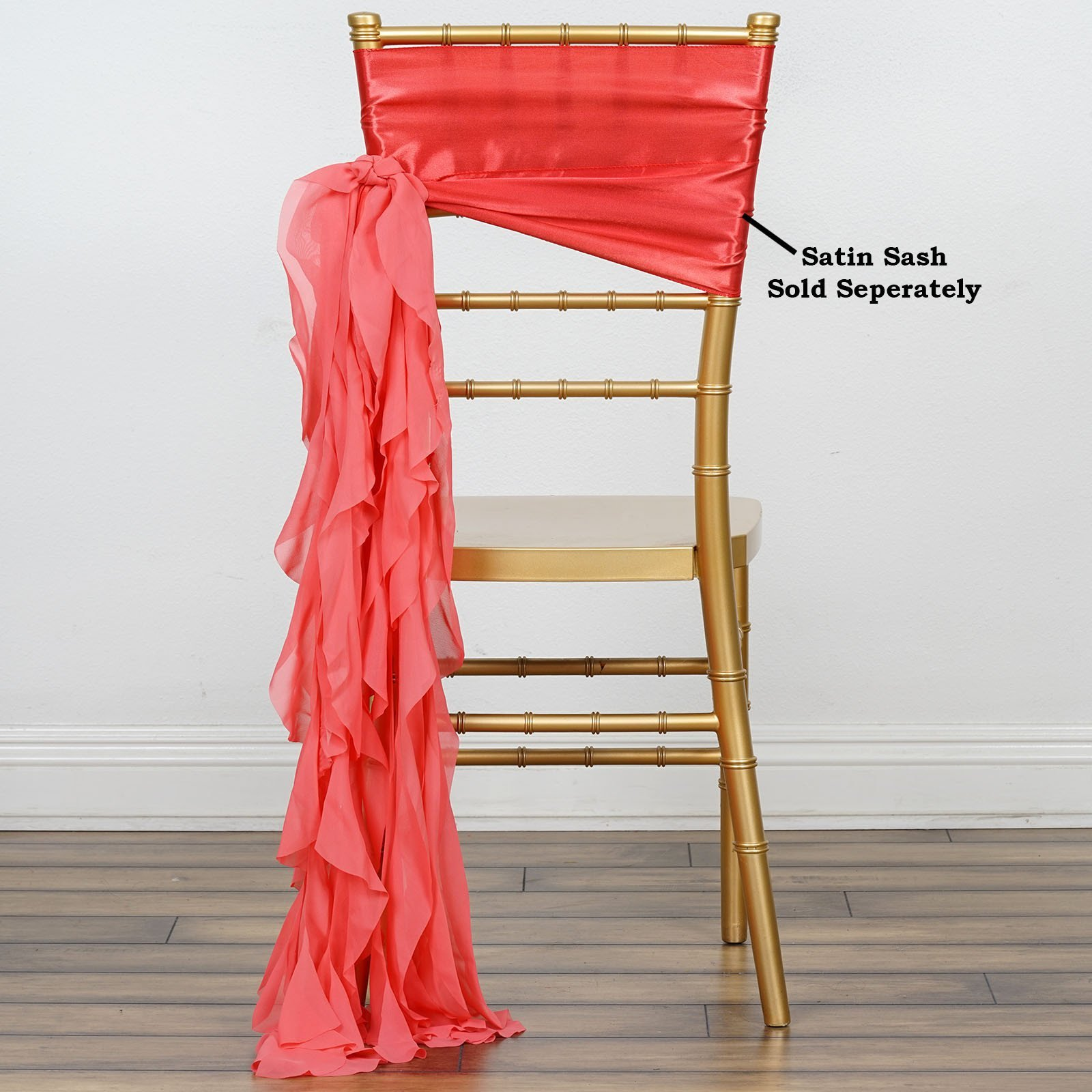 Efavormart Tableclothsfactory 5pcs Chiffon Coral Curly Chair Sashes For Home Wedding Birthday Party Dance Banquet Event Decoration