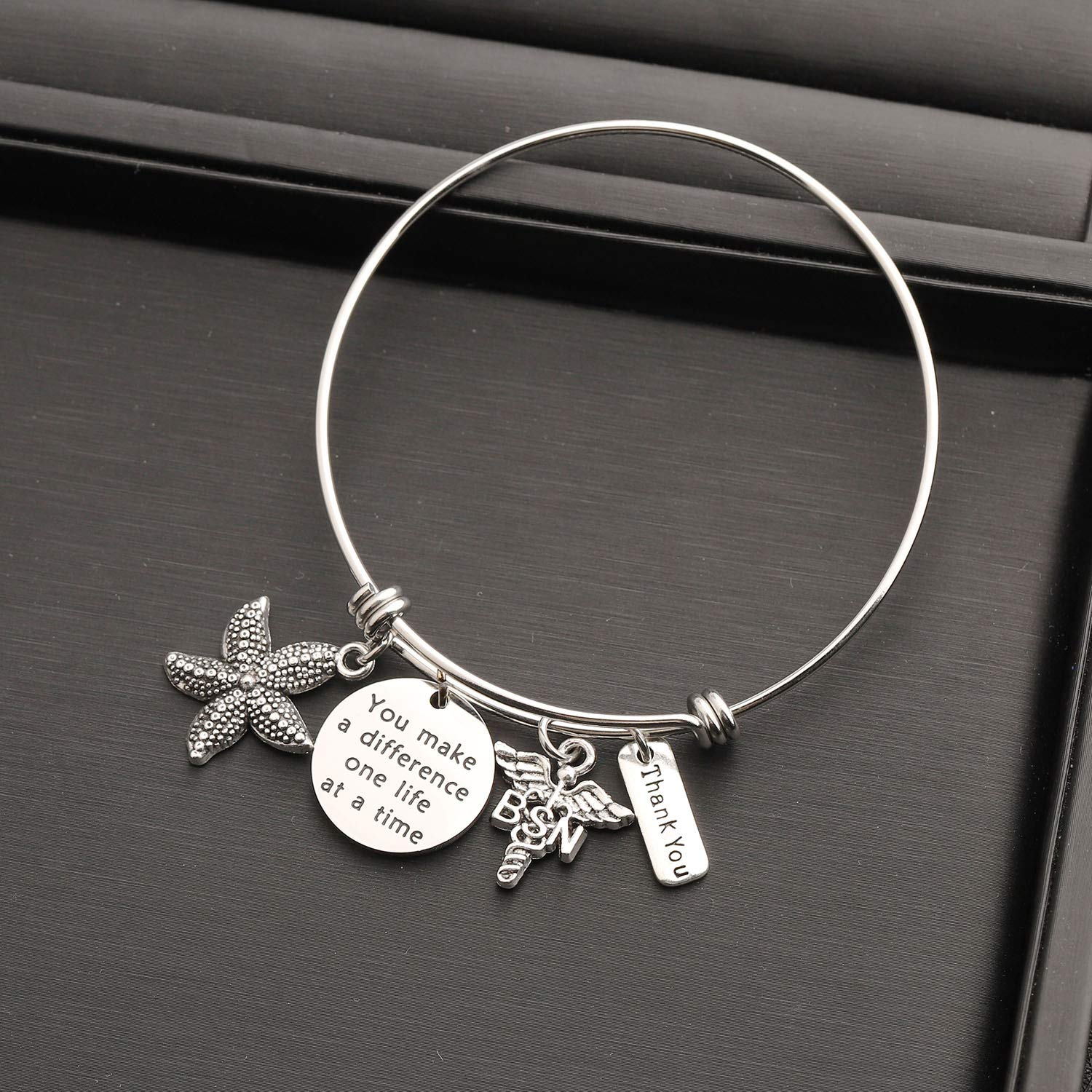 bobauna You Make A Difference One Life at A Time Starfish Bracelet RN Jewelry Nurse Appreciation Gift