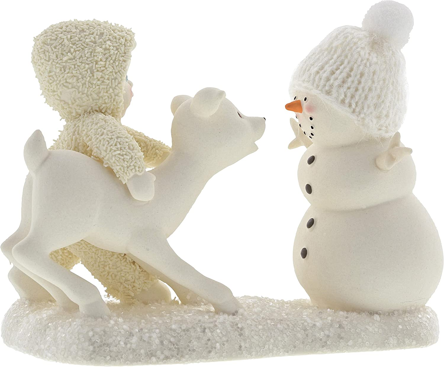 """Department 56 Snowbabies Peace Collection """"Deer Me, Who's That?"""" Porcelain Figurine, 4"""""""