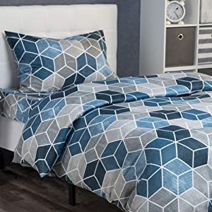 XLNT Premium Twin Size Bed Sheet Duvet Cover, 3 Piece Set, 39 Inch, Cotton Blend, Super Soft, Deep Pockets, Machine Washable, Great for Boys, Girls Or Guest Room Textured Geo Blue Design