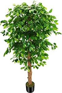 OXLLXO 6ft Artificial Ficus Silk Tree (72in) with Plastic Nursery Pot Faux Tree, Fake Plant for Office House Farmhouse Living Room Home Decor (Indoor/Outdoor)
