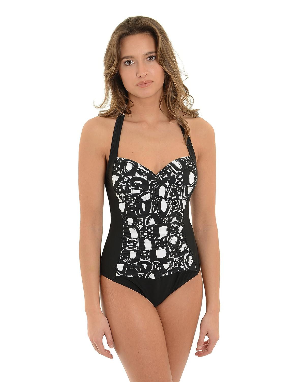 2c299b477a La Blanca Womens 1 Piece Swimsuit Black White Halter Bathing Suit Swimwear  at Amazon Women s Clothing store