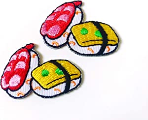 TH Set of 2 Tiny. Mini Sushi Japanese Food Cute Logo Cartoon Patches Sew Iron on Embroidered Applique Badge Sign Patch Clothing Costume