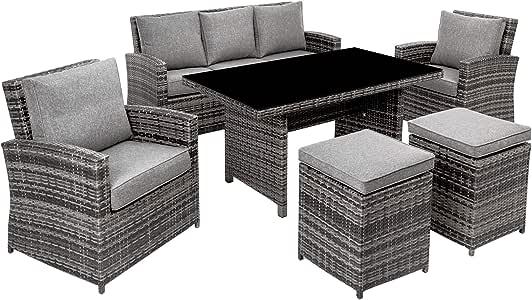 TecTake Conjunto muebles de jardín terraza poli ratán aluminio 1x sofá 2x sillones 2x taburetes 1x mesa gris: Amazon.es: Hogar