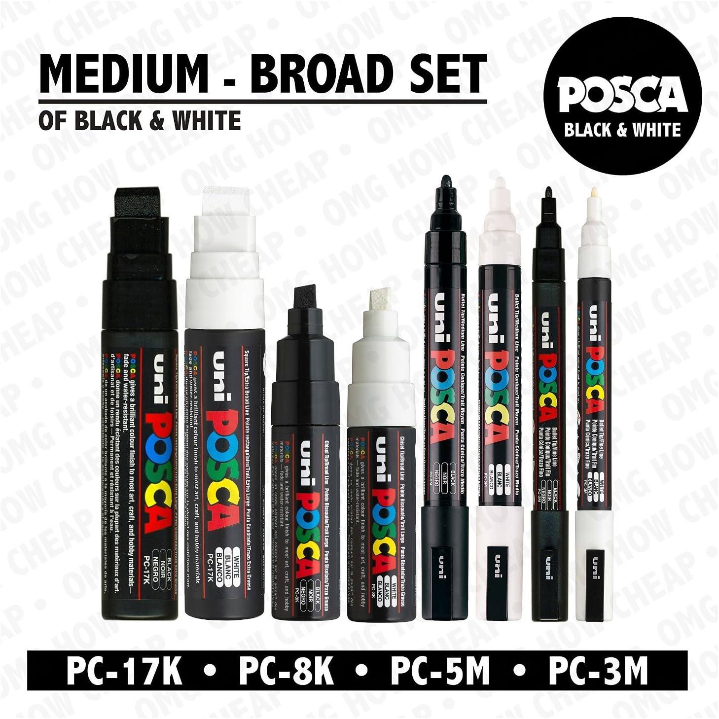 Broad 8mm Nib Posca Colour Marker Pens PC 8K 4 Pack 2 Black /& 2 White