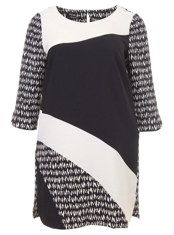 Kleid im minimalistischen Stil in schwarz/weiß in Übergrößen (44, 46, 48, 50, 52) von Elena Miro