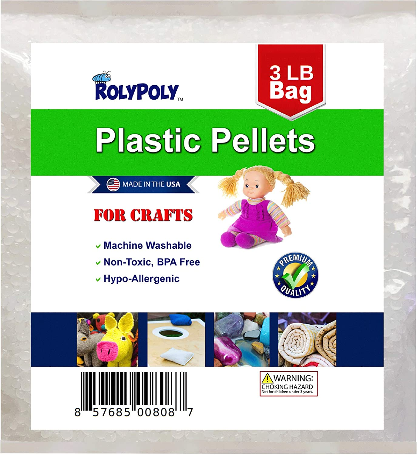 Rock Tumblers Weighted Vests Slushie or Crunchy Slime Lap Pads iSpy Bags Filler or Stuffing Beads for Weighted Blankets Sensory Development 3 LBS Poly Plastic Pellets Draft Stoppers