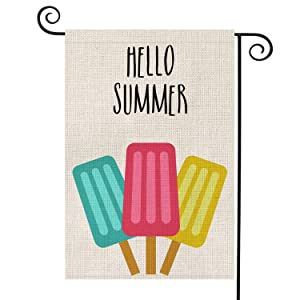 AVOIN Hello Summer Popsicles Garden Flag Vertical Double Sided Ice Cream Blue Red Yellow Pops, Seasonal Rustic Burlap Yard Outdoor Decoration 12.5 x 18 Inch