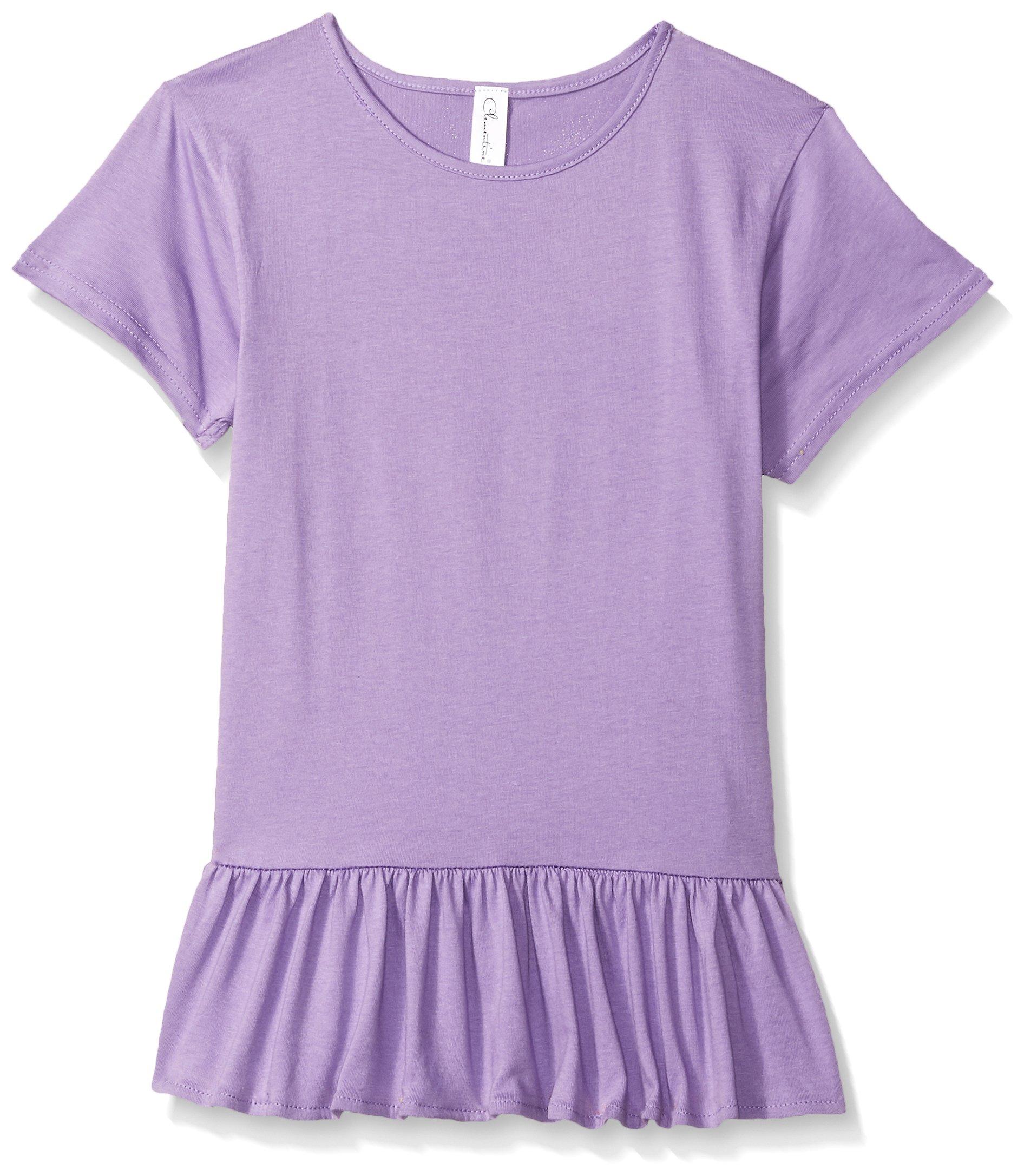 Clementine Little Girls' Ruffle Fine Jersey T-Shirt Dress, Lavender, S