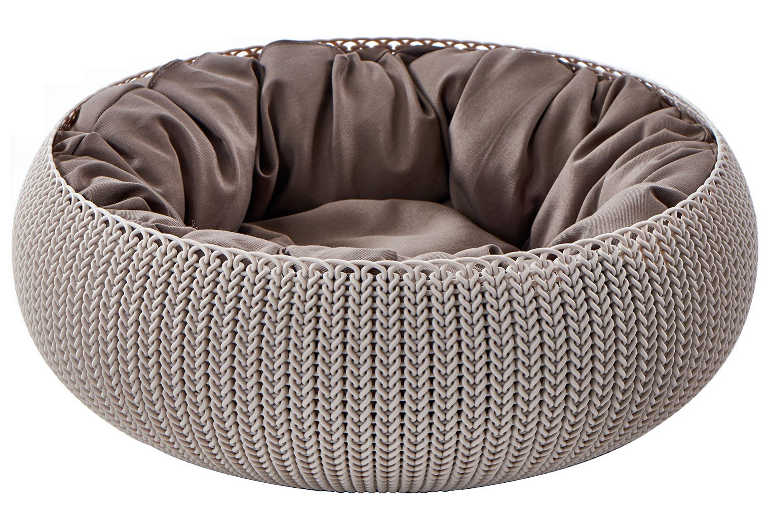 Keter by Curver KNIT Cozy Resin Plastic Pet Bed, Cat Bed & Dog Bed with Cushion, Small Dogs to Medium Cats, Sandy Beige by Keter (Image #1)